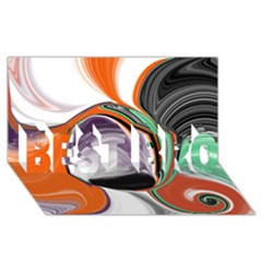 Abstract Orb In Orange, Purple, Green, And Black Best Bro 3d Greeting Card (8x4)