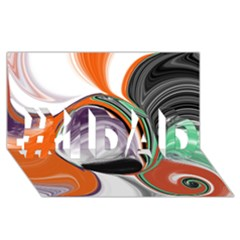 Abstract Orb in Orange, Purple, Green, and Black #1 DAD 3D Greeting Card (8x4)