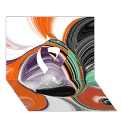 Abstract Orb In Orange, Purple, Green, And Black Ribbon 3d Greeting Card (7x5)