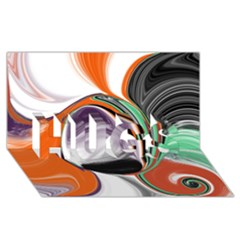 Abstract Orb in Orange, Purple, Green, and Black HUGS 3D Greeting Card (8x4)
