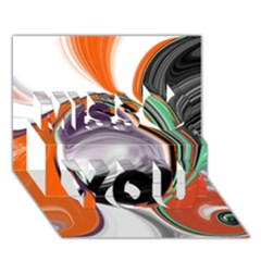 Abstract Orb in Orange, Purple, Green, and Black Miss You 3D Greeting Card (7x5)