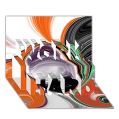 Abstract Orb In Orange, Purple, Green, And Black Work Hard 3d Greeting Card (7x5)