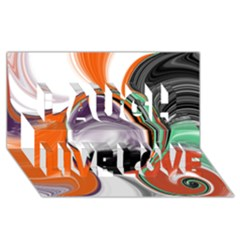 Abstract Orb in Orange, Purple, Green, and Black Laugh Live Love 3D Greeting Card (8x4)