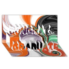 Abstract Orb in Orange, Purple, Green, and Black Congrats Graduate 3D Greeting Card (8x4)