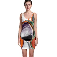 Abstract Orb In Orange, Purple, Green, And Black Sleeveless Bodycon Dress