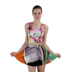 Abstract Orb in Orange, Purple, Green, and Black Mini Skirt