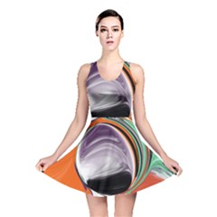 Abstract Orb In Orange, Purple, Green, And Black Reversible Skater Dress