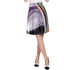 Abstract Orb in Orange, Purple, Green, and Black A-Line Skirt