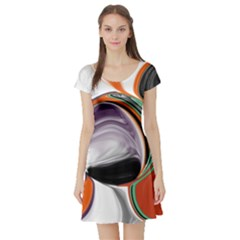 Abstract Orb in Orange, Purple, Green, and Black Short Sleeve Skater Dress