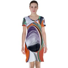 Abstract Orb in Orange, Purple, Green, and Black Short Sleeve Nightdress