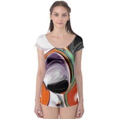 Abstract Orb In Orange, Purple, Green, And Black Boyleg Leotard