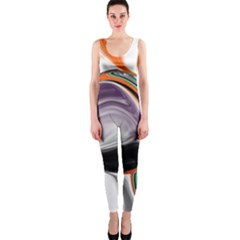 Abstract Orb in Orange, Purple, Green, and Black OnePiece Catsuit