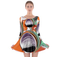Abstract Orb in Orange, Purple, Green, and Black Long Sleeve Skater Dress