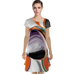 Abstract Orb In Orange, Purple, Green, And Black Cap Sleeve Nightdress