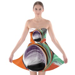 Abstract Orb In Orange, Purple, Green, And Black Strapless Bra Top Dress