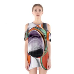 Abstract Orb in Orange, Purple, Green, and Black Cutout Shoulder Dress