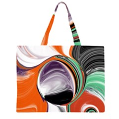 Abstract Orb in Orange, Purple, Green, and Black Large Tote Bag