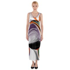 Abstract Orb in Orange, Purple, Green, and Black Fitted Maxi Dress
