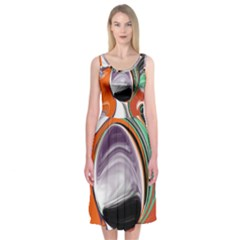 Abstract Orb In Orange, Purple, Green, And Black Midi Sleeveless Dress