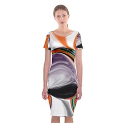 Abstract Orb In Orange, Purple, Green, And Black Classic Short Sleeve Midi Dress
