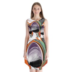 Abstract Orb In Orange, Purple, Green, And Black Sleeveless Chiffon Dress