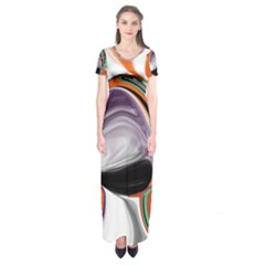 Abstract Orb in Orange, Purple, Green, and Black Short Sleeve Maxi Dress