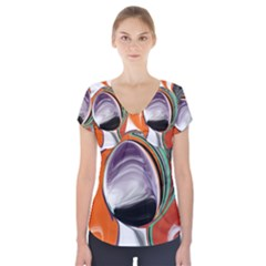 Abstract Orb In Orange, Purple, Green, And Black Short Sleeve Front Detail Top