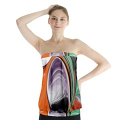 Abstract Orb in Orange, Purple, Green, and Black Strapless Top