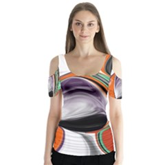 Abstract Orb In Orange, Purple, Green, And Black Butterfly Sleeve Cutout Tee