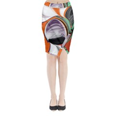 Abstract Orb in Orange, Purple, Green, and Black Midi Wrap Pencil Skirt