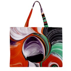 Abstract Orb in Orange, Purple, Green, and Black Medium Zipper Tote Bag