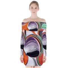 Abstract Orb In Orange, Purple, Green, And Black Long Sleeve Off Shoulder Dress