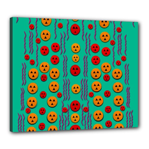 Pumkins Dancing In The Season Pop Art Canvas 24  X 20