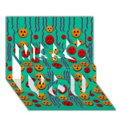 Pumkins Dancing In The Season Pop Art Miss You 3D Greeting Card (7x5)