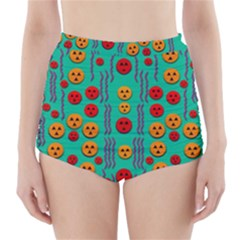 Pumkins Dancing In The Season Pop Art High Waisted Bikini Bottoms