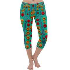 Pumkins Dancing In The Season Pop Art Capri Yoga Leggings