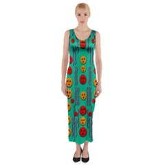 Pumkins Dancing In The Season Pop Art Fitted Maxi Dress