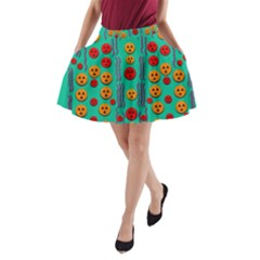 Pumkins Dancing In The Season Pop Art A Line Pocket Skirt