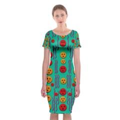 Pumkins Dancing In The Season Pop Art Classic Short Sleeve Midi Dress