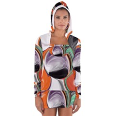 Abstract Orb Women s Long Sleeve Hooded T Shirt