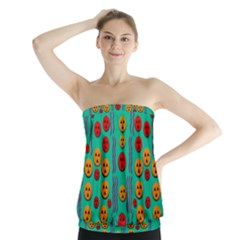 Pumkins Dancing In The Season Pop Art Strapless Top