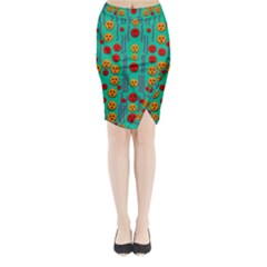 Pumkins Dancing In The Season Pop Art Midi Wrap Pencil Skirt