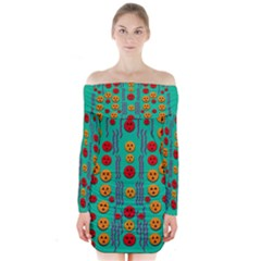 Pumkins Dancing In The Season Pop Art Long Sleeve Off Shoulder Dress