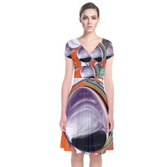 Abstract Orb Short Sleeve Front Wrap Dress