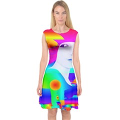 Abstract Color Dream Capsleeve Midi Dress
