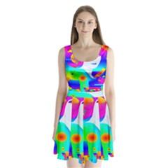 Abstract Color Dream Split Back Mini Dress