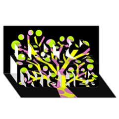 Simple Colorful Tree Best Wish 3d Greeting Card (8x4)