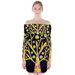 Simple colorful tree Long Sleeve Off Shoulder Dress