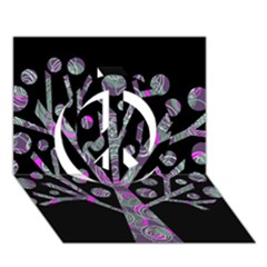 Purple magical tree Peace Sign 3D Greeting Card (7x5)