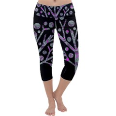 Purple magical tree Capri Yoga Leggings